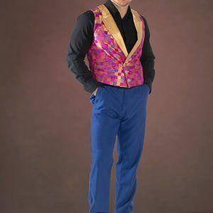 Festive Pink/Gold Checkered Vest Set or separates